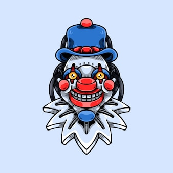 Mascote cyber palhaço sorridente
