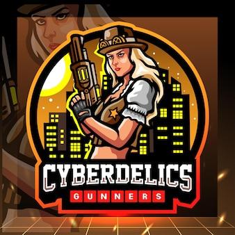 Mascote cyberdelics. design do logotipo esport