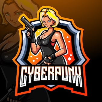 Mascote cyberpunk. logotipo esport