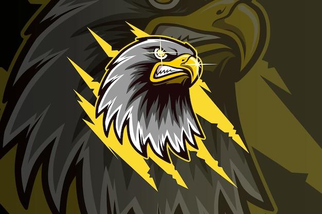 Mascote da águia-cabeça e logotipo esport desenho à mão