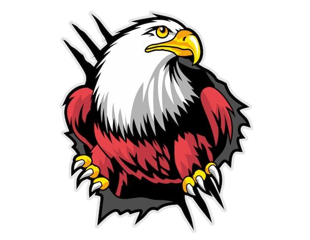 Mascote da águia que quebra de tecido