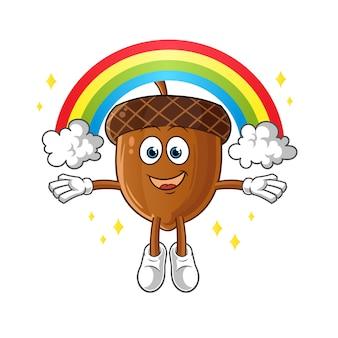Mascote da bolota com arco-íris isolado no branco