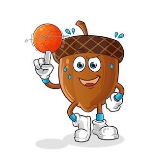 Mascote da bolota jogando basquete