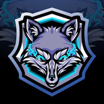 Mascote da cabeça da raposa. design do logotipo esport