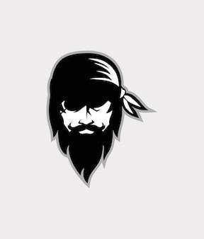 Mascote da cabeça de pirata projeto do modelo do logotipo dos piratas do mar ilustração vetorial
