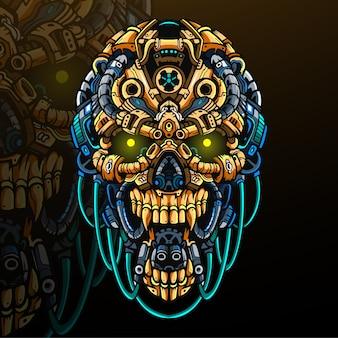 Mascote da cabeça do crânio. logotipo esport