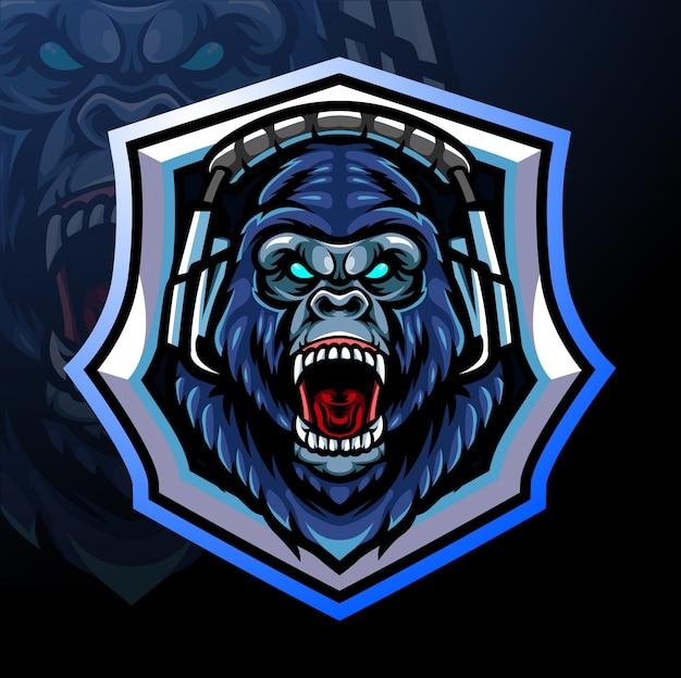 Mascote da cabeça do gorila. design do logotipo esport