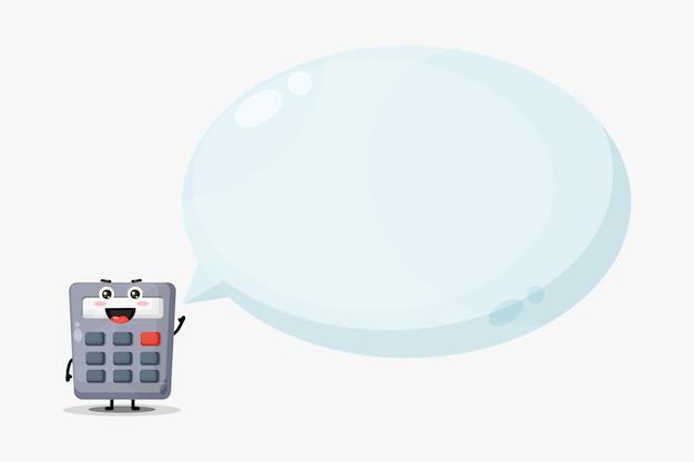Mascote da calculadora fofa com discurso de bolha