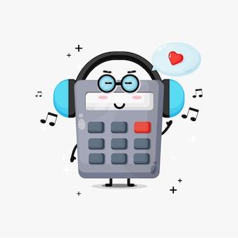 Mascote da calculadora fofa ouvindo música