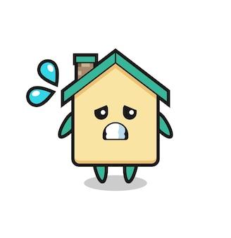 Mascote da casa com gesto de medo, design fofo