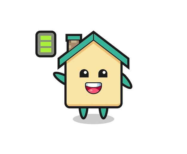 Mascote da casa com gesto enérgico e design fofo
