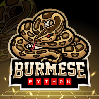 Mascote da cobra python birmanesa. design do logotipo esport