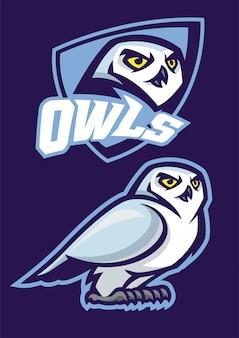 Mascote da coruja com estilo de esporte