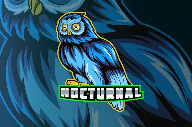 Mascote da coruja para logotipo de esportes e esportes eletrônicos isolado em fundo escuro