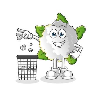 Mascote da couve-flor jogue lixo na lata de lixo
