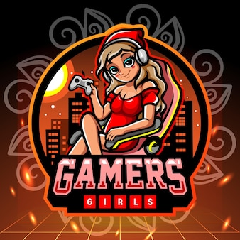 Mascote da garota de jogadores. design do logotipo esport