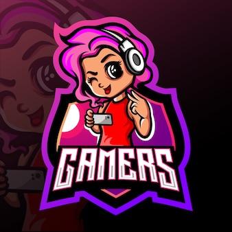 Mascote da garota do jogador. logotipo esport