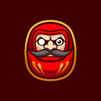 Mascote da ilustração da boneca daruma