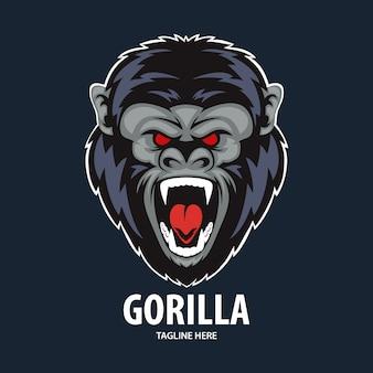 Mascote da ilustração de cabeça de gorila bravo