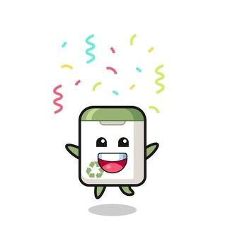 Mascote da lata de lixo feliz pulando de parabéns com confete colorido, design de estilo fofo para camiseta, adesivo, elemento de logotipo