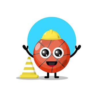 Mascote da personagem fofa do basquete trabalhador da construção civil