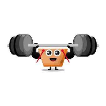 Mascote da personagem fofa do carrinho de compras de fitness