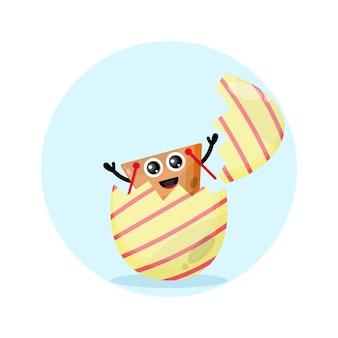 Mascote da personagem fofa do carrinho de compras de ovo de páscoa