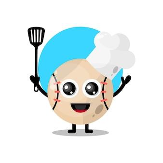 Mascote da personagem fofa do chef de beisebol