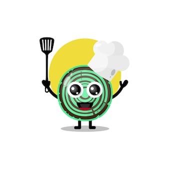Mascote da personagem fofa do chef de madeira