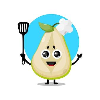 Mascote da personagem fofa do chef pêra