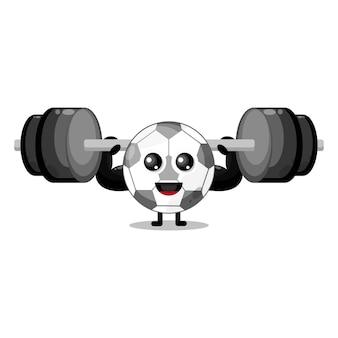 Mascote da personagem fofa do futebol fitness