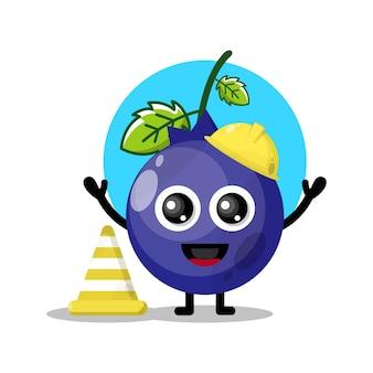 Mascote da personagem fofa do trabalhador da construção civil de mirtilo