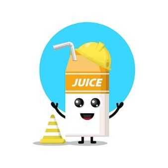 Mascote da personagem fofa do trabalhador da construção civil de sucos