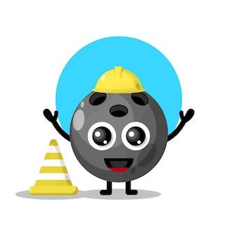 Mascote da personagem fofa do trabalhador da construção de bola de boliche