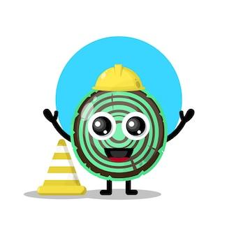 Mascote da personagem fofa do trabalhador da construção de madeira