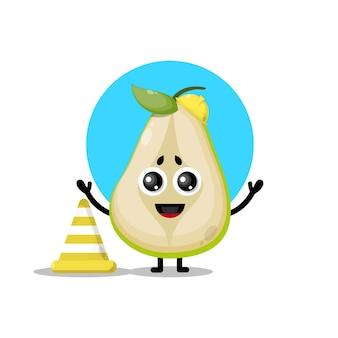 Mascote da personagem fofa do trabalhador da construção de pêra