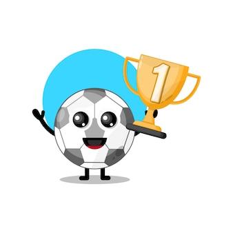 Mascote da personagem fofa do troféu de futebol