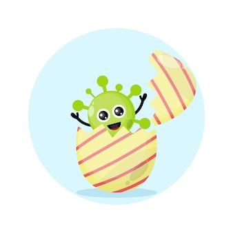 Mascote da personagem fofa do vírus do ovo de páscoa