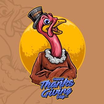 Mascote da turquia de ilustração vetorial de dia de ação de graças