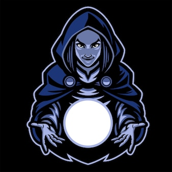 Mascote dama bruxa com bola de vidro mágica