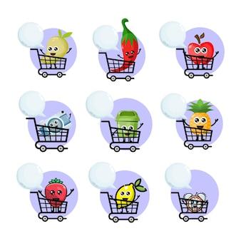Mascote das variações do carrinho de compras