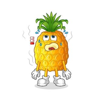 Mascote de abacaxi com bateria fraca