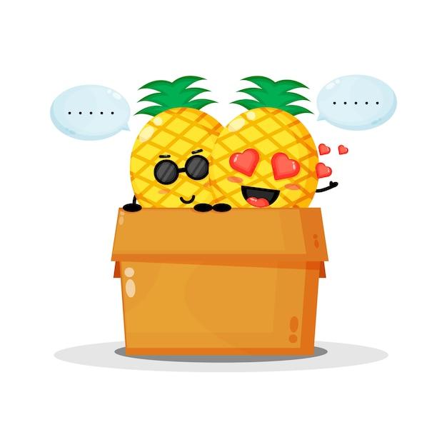 Mascote de abacaxi fofo na caixa