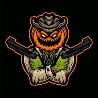 Mascote de abóbora assustador de arma dupla