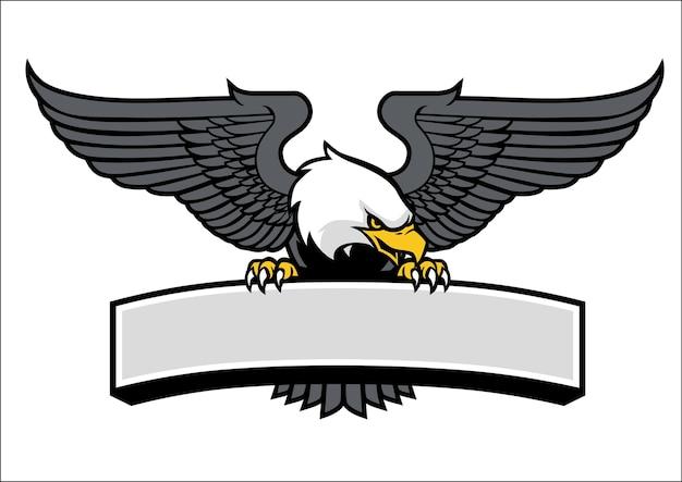 Mascote de águia, pegando o sinal