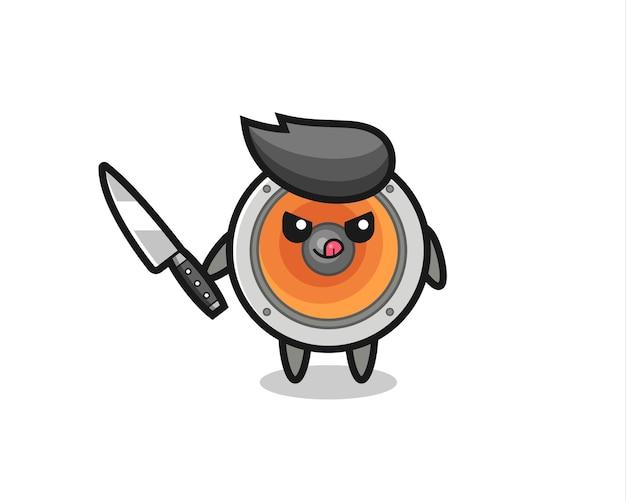 Mascote de alto-falante fofo como um psicopata segurando uma faca, design de estilo fofo para camiseta, adesivo, elemento de logotipo