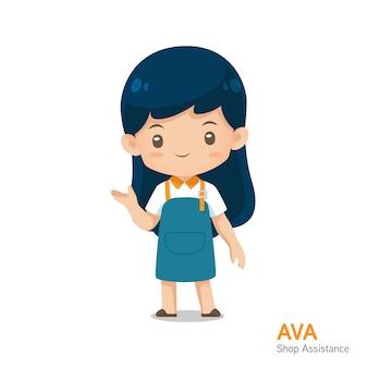 Mascote de assistência de loja de bonito dos desenhos animados no uniforme de avental na apresentação de uso de ação para ilustração