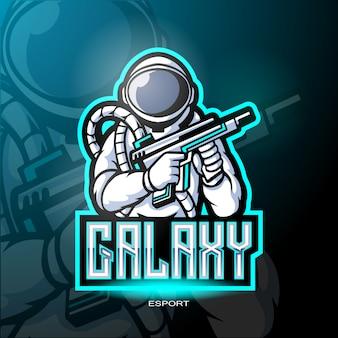 Mascote de astronauta galaxy para logotipo de jogos.