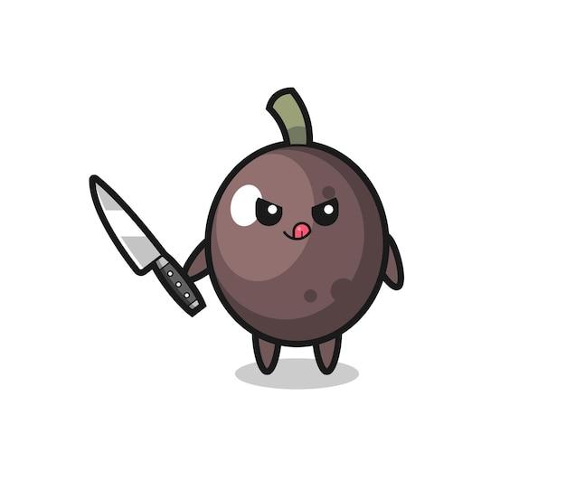 Mascote de azeitona preta fofa como um psicopata segurando uma faca, design de estilo fofo para camiseta, adesivo, elemento de logotipo