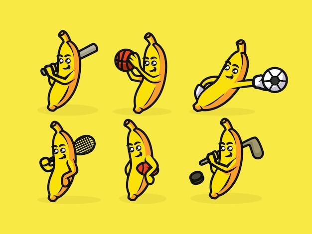 Mascote de banana esporte bonito